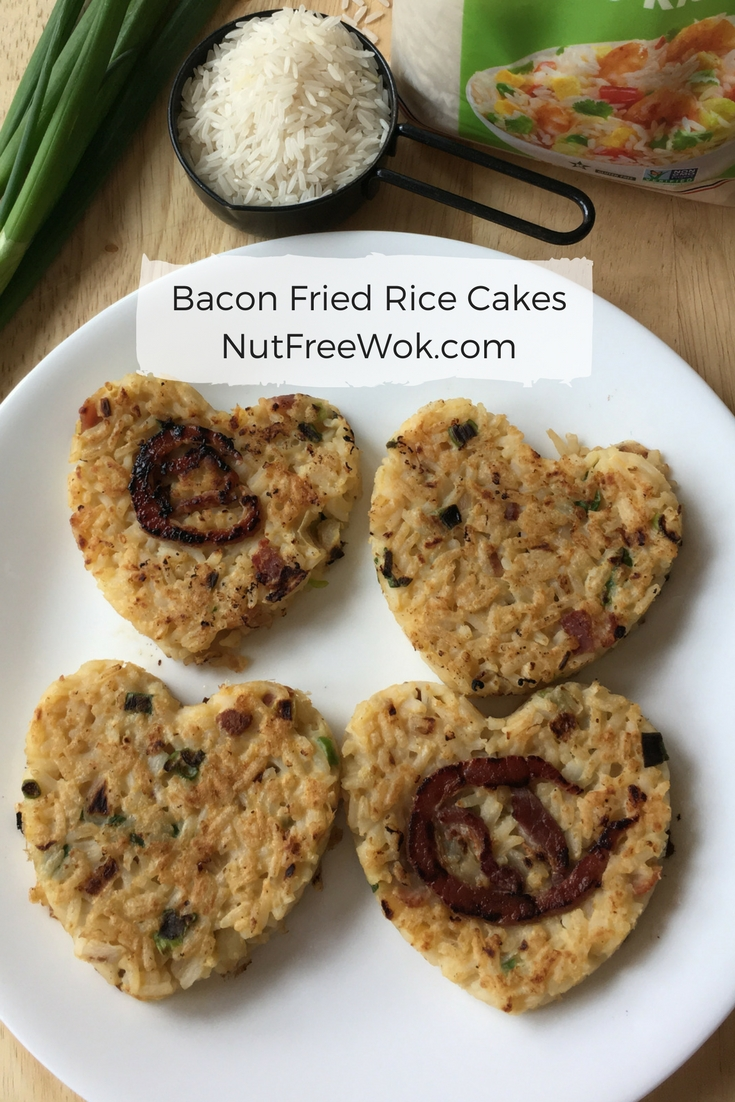 Bacon Fried Rice Cakes with an attempt to make basketball shaped bacon.