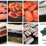 step by step collage on how to assemble spam musubi