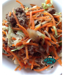 Picttured: Ground bison, Carrots & Cabbage over brown rice