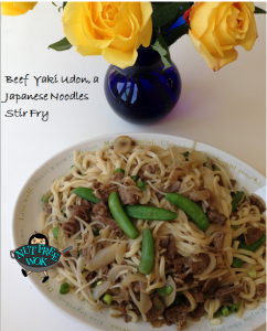 Beef Yaki Udon with Sweet Peas and Mung Bean Sprouts