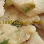 close up view of gluten free scallion pancake