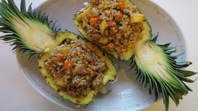 Chicken Pineapple Fried Rice served in carved out pineapple bowls make an impression. #nutfree #friedrice
