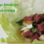 wagyu sausage in a lettuce cup