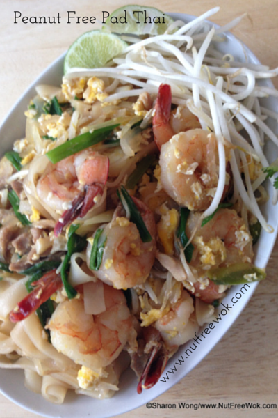 Peanut Free Pad Thai with egg shrimp