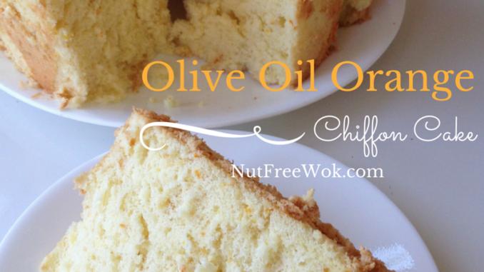 A slice of Olive Oil Orange Chiffon Cake by Nut Free Wok