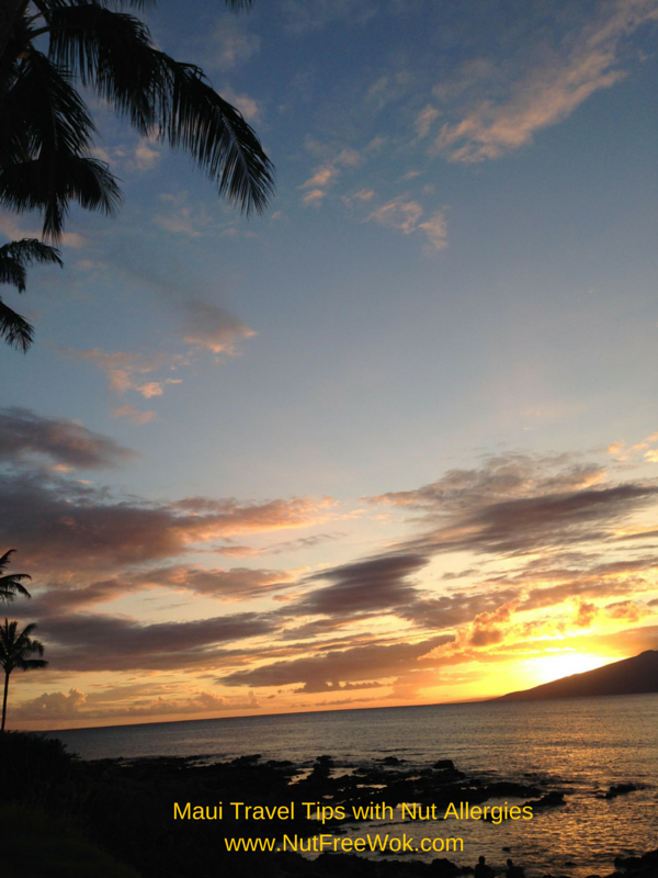 Maui Travel Tips with Nut allergies sunset Napili Bay