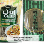 collage of two different sweet potato starch noodles