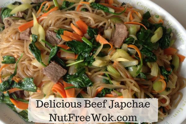 Delicious beef japchae by nutfreewok.com