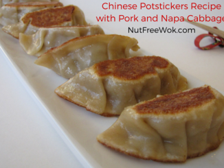 close up view of chinese potstickers with pork and napa cabbage
