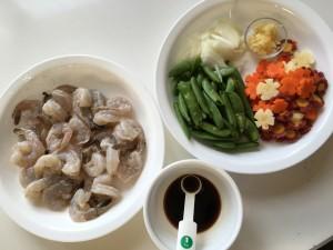 Shrimp stir fry mise en place NutFreeWok.com