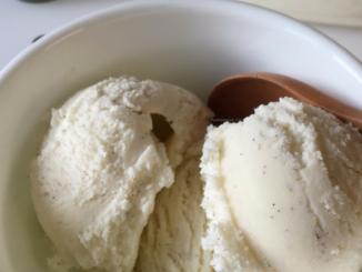 close up of Creamiest Vanilla Bean Ice Cream Recipe Nut Free Wok