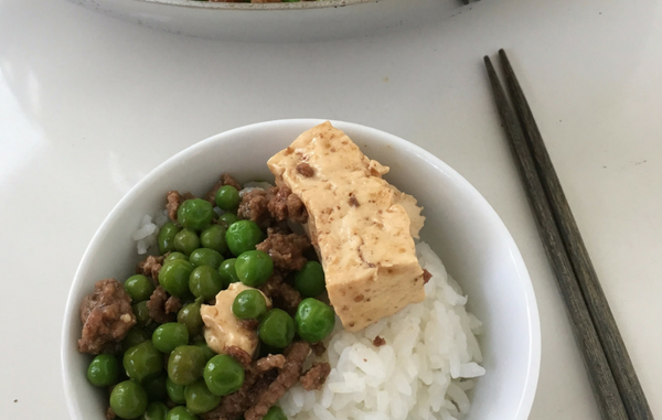 bowl of minced beef with tofu and peas
