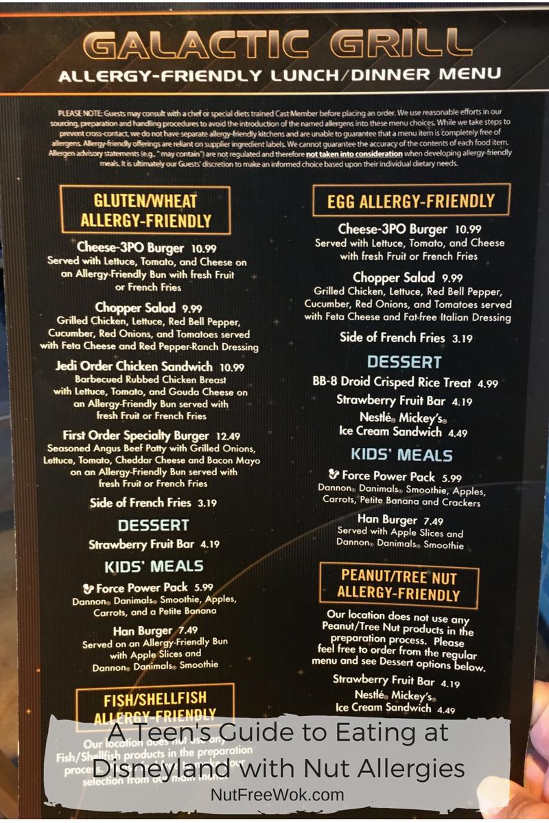Galactic Grill Menu Teen's Guide Disneyland Nut Allergies