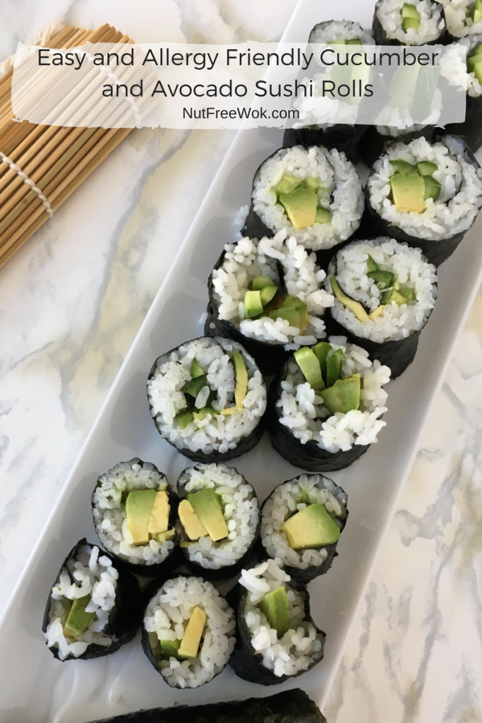 Easy and Allergy Friendly Cucumber and Avocado Sushi Rolls nut free wok