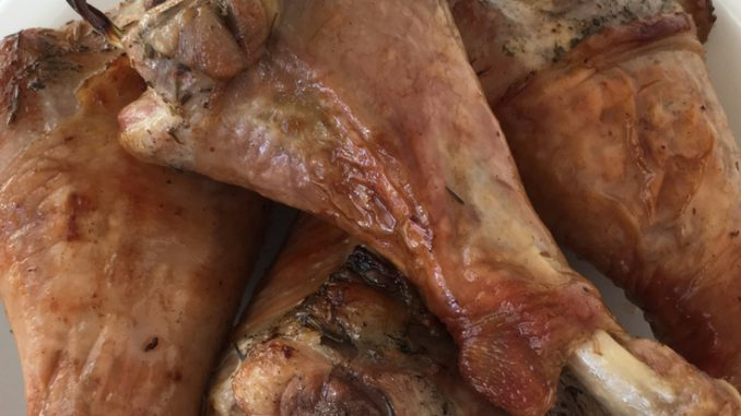 Roasted turkey drumsticks for everyone and Rodelle Turkey Brine review