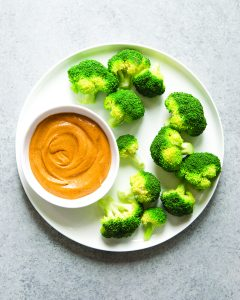 Thai Almond Butter Dip with Brocolli Trees