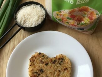 A bacon fried rice cake by Nut Free Wok
