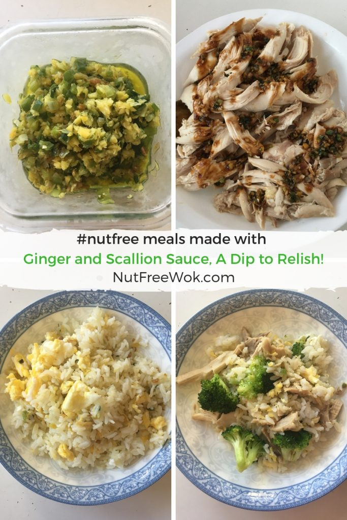 #nutfree examples of what can be made with ginger and scallion sauce: drizzle over plain chicken, simple fried rice, and broccoli and chicken fried rice.