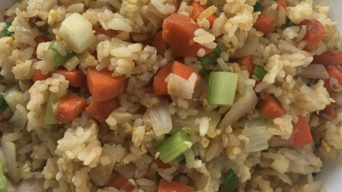 Bowl of Easy Vegetable Fried Rice with Egg