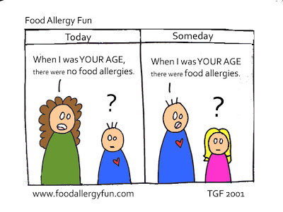 Food Allergy Fun cartoon, Today: When I was YOUR AGE there were no food allergies. Someday: When I was YOUR AGE, there were food allergies.