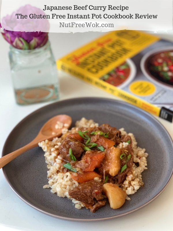 Japanese Beef Curry served over rice and The Gluten Free Instant Pot Cookbook Review by Nut Free Wok