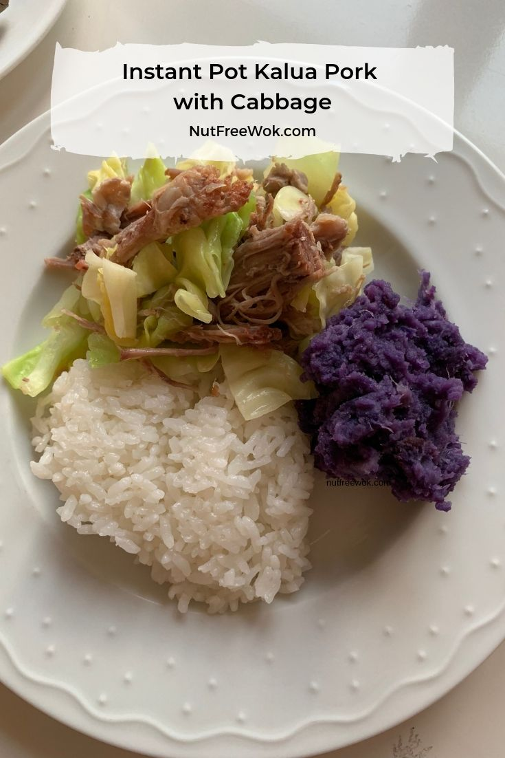 Instant Pot Kalua Pork served with sides, freshly cooked rice and purple sweet potato.