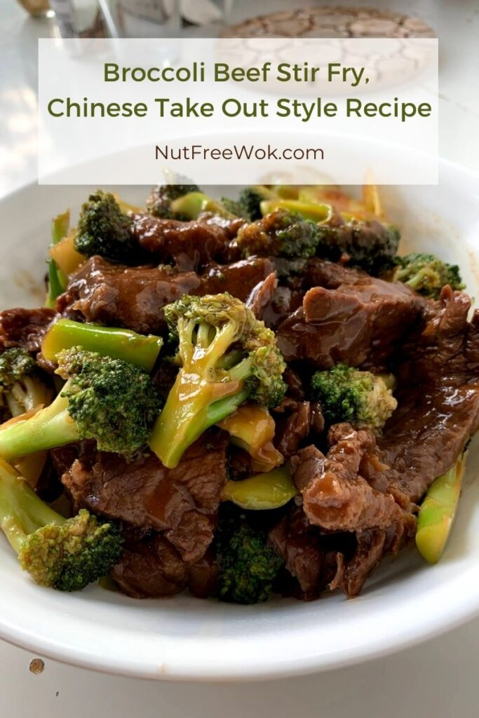 Broccoli Beef Stir Fry, Chinese Take Out Style in a white bowl